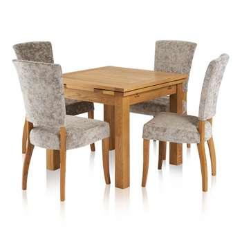 Dorset Dining Set - 3ft Extendable Table with 4 Plain Truffle (H78 x W90 x D90cm)