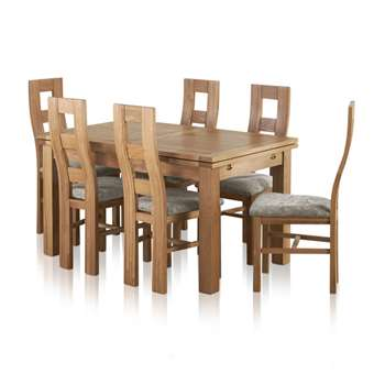 Dorset Natural Solid Oak Dining Set - 4ft 7inches Extending Table with 6 (H78 x W140 x D90cm)