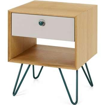 Dotty Bedside Table, Oak & Grey (H50 x W40 x D35cm)