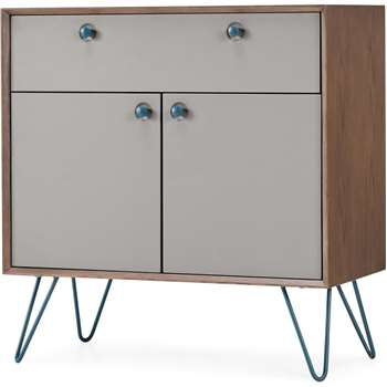 Dotty Compact Sideboard, Dark Stain and Grey (H80 x W80 x D40cm)