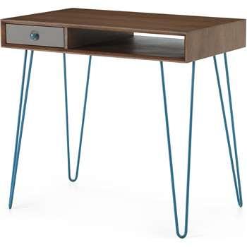 Dotty Desk, Dark Stain Oak & Grey (H75 x W80 x D50cm)