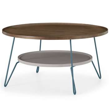 Dotty Round Coffee table, Dark Stain and Grey (H43 x W80 x D80cm)