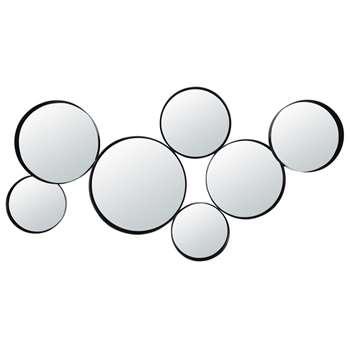 DOUALA Round Black Metal Mirrors (H66 x W121 x D5cm)