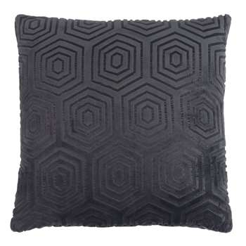 DOUXEAST SIDE Patterned Anthracite Grey Fabric Cushion (45 x 45cm)