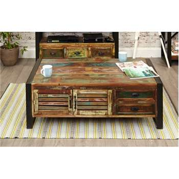 Downtown Modern 4 Door 4 Drawer Large Coffee Table (40 x 120cm)