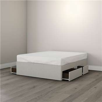 Drawer Divan Base, Silver Grey - King (39cm x 150cm x 200cm)