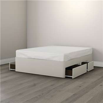 Drawer Divan Base, White - Double (39cm x 138cm x 190cm)