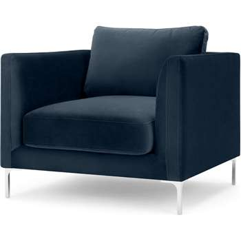 Dree Accent Chair, Sapphire Blue Velvet (H81 x W94 x D90cm)