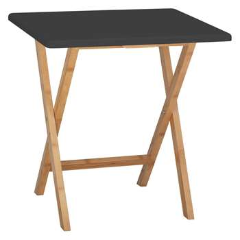 Drew 2 seat bamboo and black lacquer folding dining table (Width 70cm)