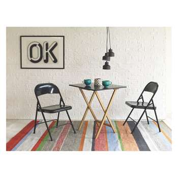 Drew 2 seater dining set with Drew black table and 2 black Macadam chairs (Width 70cm)