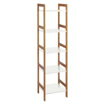 Drew Bamboo and white lacquer 5-shelf bookcase 140 x 36cm