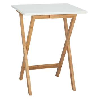 Drew Bamboo and white lacquer folding side table, White (Width 37cm)