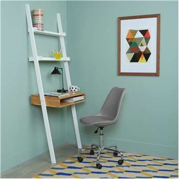 Drew Bamboo And White Lacquer Ladder Desk And Grey Office Chair (H189 x W70 x D40cm)