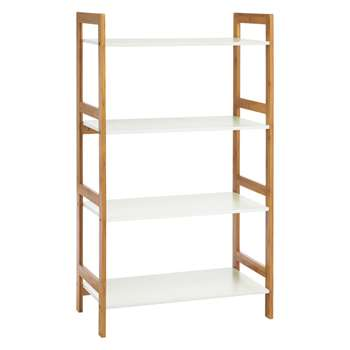 Drew Bamboo and white lacquer wide 4-shelf bookcase 110 x 64cm