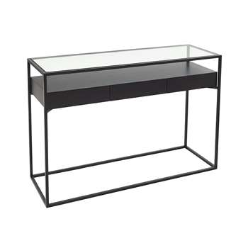 Drift console table with drawers darkwood (80 x 140cm)