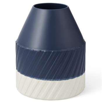 Drue Ribbed Medium Ceramic Vase, Blue (H36 x W11 x D11cm)