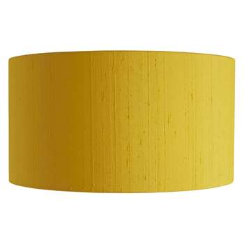 Drum Silk Saffron Yellow Silk Lampshade (H24 x W45 x D45cm)
