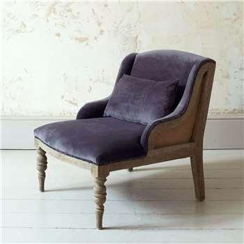 Duchess Grey Velvet Armchair (H68 x W60 x D70cm)