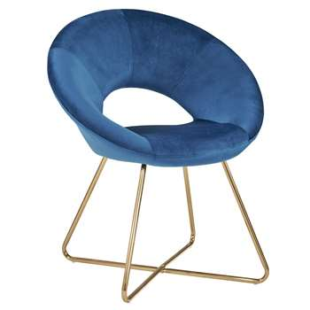 Duhome - Velvet Dining and Reception Chair, Blue (H84 x W72 x D53cm)