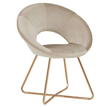 Duhome - Velvet Dining and Reception Chair, Cream (H84 x W72 x D53cm)