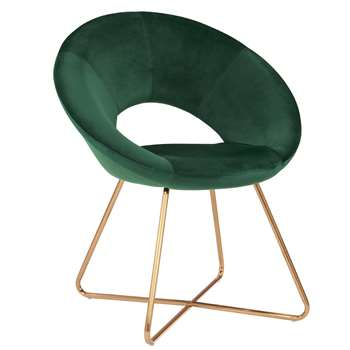 Duhome - Velvet Dining and Reception Chair, Green (H84 x W72 x D53cm)