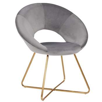 Duhome - Velvet Dining and Reception Chair, Grey (H84 x W72 x D53cm)