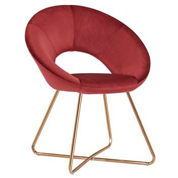 Duhome - Velvet Dining and Reception Chair, Red (H84 x W72 x D53cm)