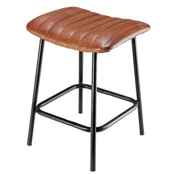 DUKE black metal and calfskin stool (50 x 38cm)