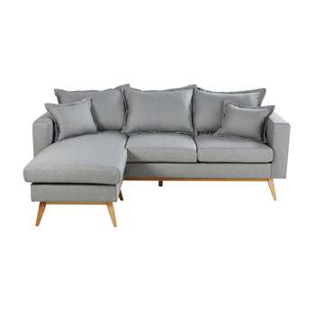 DUKE Light Grey 4/5-Seater Scandinavian-Style Modular Corner Sofa (H88 x W220 x D158cm)