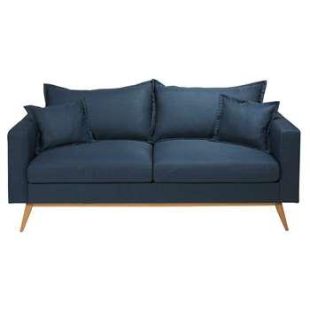 DUKE Midnight blue 3-seater fabric sofa (88 x 202cm)
