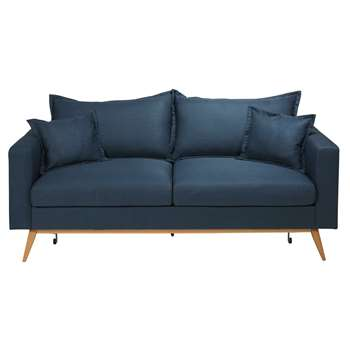 DUKE Midnight blue 3-seater fabric sofa bed (88 x 216cm)