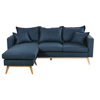 DUKE Midnight Blue 4/5-Seater Scandinavian-Style Modular Corner Sofa (H88 x W220 x D158cm)