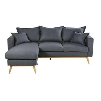 DUKE Slate Grey 4/5-Seater Scandinavian-Style Modular Corner Sofa (H88 x W220 x D158cm)