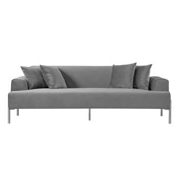 Duke Three Seat Sofa - Dove Grey - Silver finish Legs (H70 x W223 x D92cm)