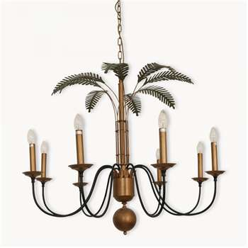 Dunbar Antique Black and Brass Chandelier with Green Leaves (60 x 98cm)