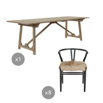 Duncliffe Table and Murciana Chair Dining Set - Natural (76 x 240cm)