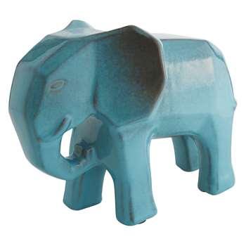 Dunston Blue Ceramic Elephant Object (H24 x W32 x D17cm)
