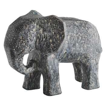 Dunston Grey Ceramic Elephant Object (H24 x W32 x D17cm)