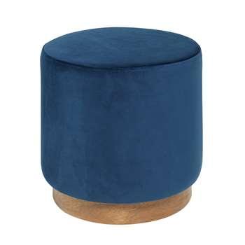 Duo stool blue velvet (H39 x W40 x D40cm)