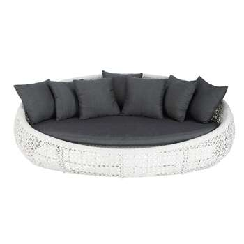 DURBAN 3 seater wicker garden sofa in white