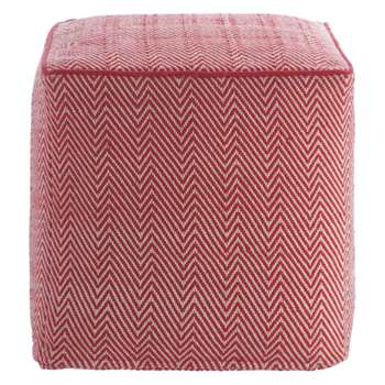 Habitat Durrie Red Patterned Footstool (45 x 45cm)