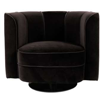 Dutchbone Flower Lounge Chair in Black (H76 x W86 x D74cm)