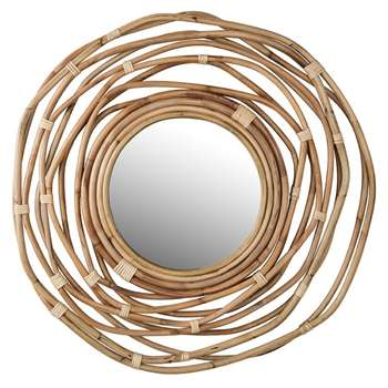 Dutchbone Kubu Rattan Wall Mirror (Diameter 75cm)