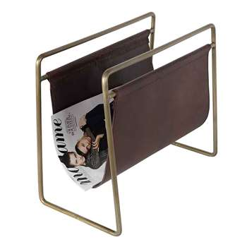 Dutchbone Scholar Leather Magazine Rack in Brown (H40 x W45 x D26cm)