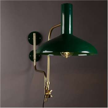 Dutchbone Vintage Wall Light in Gloss Green (49 x 29cm)