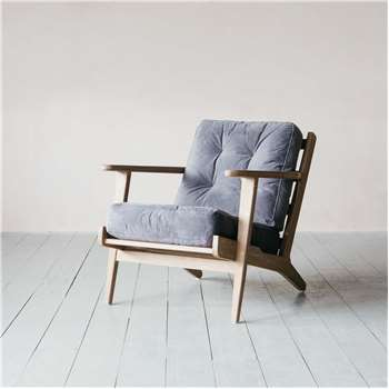 Dylan Grey Velvet Armchair (H73 x W72 x D73cm)