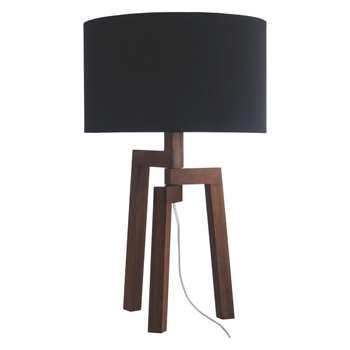 Dylan Walnut stained wood table lamp with black fabric shade (Width 35cm)