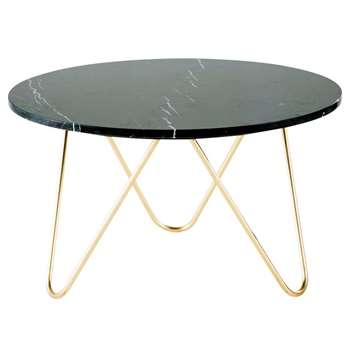 EAGLE Gold Metal and Black Marble Coffee Table (H46 x W75 x D75cm)