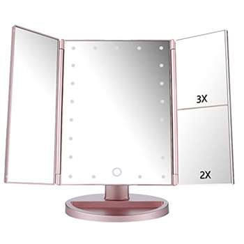 Easehold Tri-Fold Illuminated Touch Screen Magnifying Vanity Mirror, Rose Gold