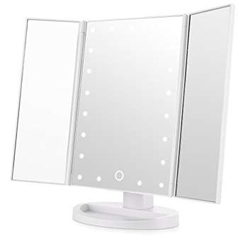 Easehold Tri-Fold Illuminated Touch Screen Vanity Mirror, White